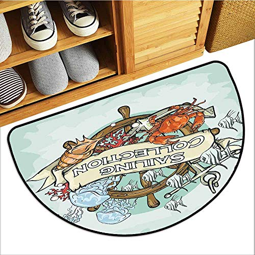 TableCovers&Home Non-Slip Door Mat, Nautical Decor Decorative Rugs for Living Room, Sailing Collection Old Times Fisherman Ribbon Banner Fishing Sea Food Crab (H20 x D32 Semicircle)