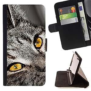 KingStore / Leather Etui en cuir / Samsung Galaxy S4 Mini i9190 / Chartreux Serengeti Bengala gato de Shorthair