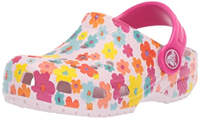 d7f89d86091711 Crocs Kids' Classic Seasonal Graphic Floral Clog, Barely Pink, 4 M US  Toddler