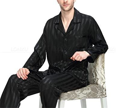 Image Unavailable. Image not available for. Color  Mens Silk Satin Pajamas  Set Pajama Pyjamas Sleepwear Set Loungewear S-4Xl Plus Striped Black 477ce422c