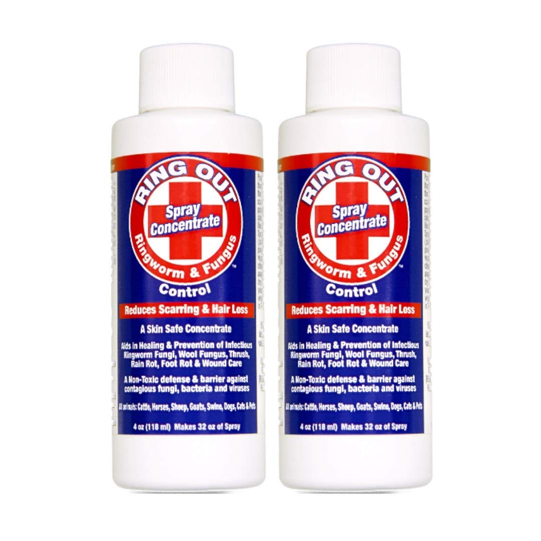 Ring Out - Antifungal Spray For Ringworm & Fungus Control on Animals Skin. Anti Fungal Treatment & Prevention for Cats, Dog, Sheep, Goats, Cattle, Horses, All Pets & Livestock 4 oz. Makes 32 oz 2 Pack