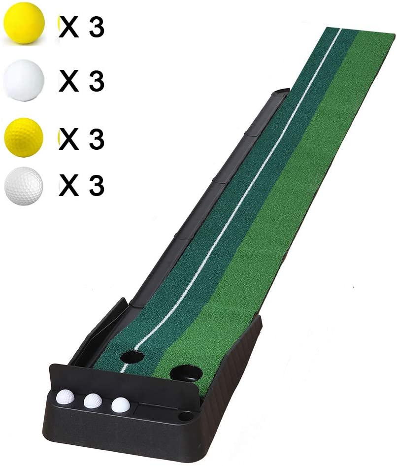 oftoto Golf Putting Mat Indoor - Simulated Turf Auxiliary Golf Practice Putting Mat with Automatic Fairway Return and 12 Bonus Balls, Great for Family or Friends to Practice Golf at Home (Green