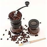 Molinillo de Café, Cooko Molinillo de café manual, Mini Molino de Café Profesional Molinillo de Manivela con Rebabas de Cerámica para Café Espresso