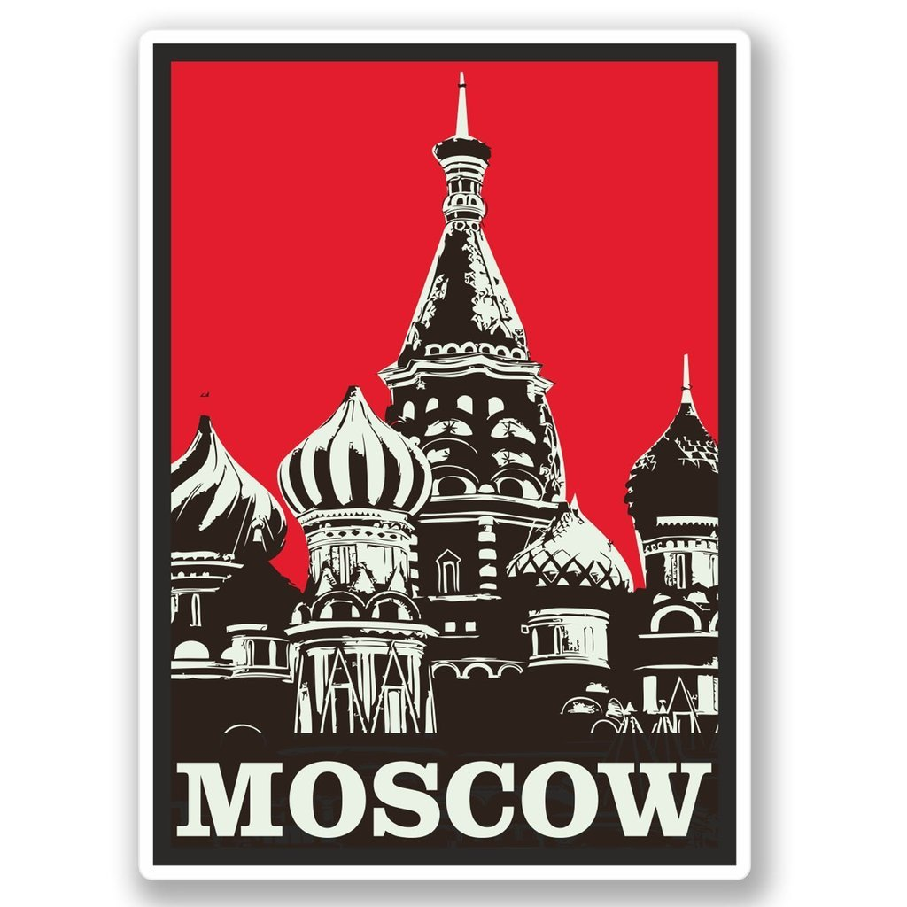 2 x 30cm- 300mm Moscow Russia Vinyl SELF ADHESIVE STICKER Decal Laptop Travel Luggage Car iPad Sign Fun #4352