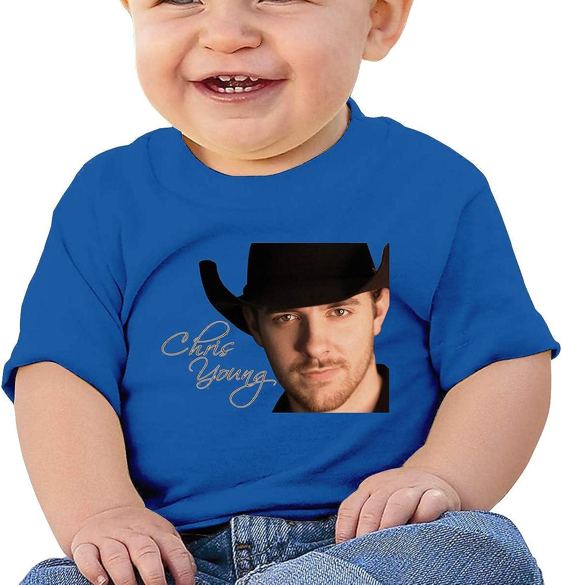 Honshang Chris Young Wallpaper Short-Sleeve Blue Tshirts for Toddler T-Shirts