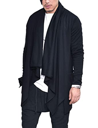 COOFANDY Mens Ruffle Shawl Collar Cardigan Sweaters Long Sleeve Open Front  Longline Drape Coat 1ad32881a