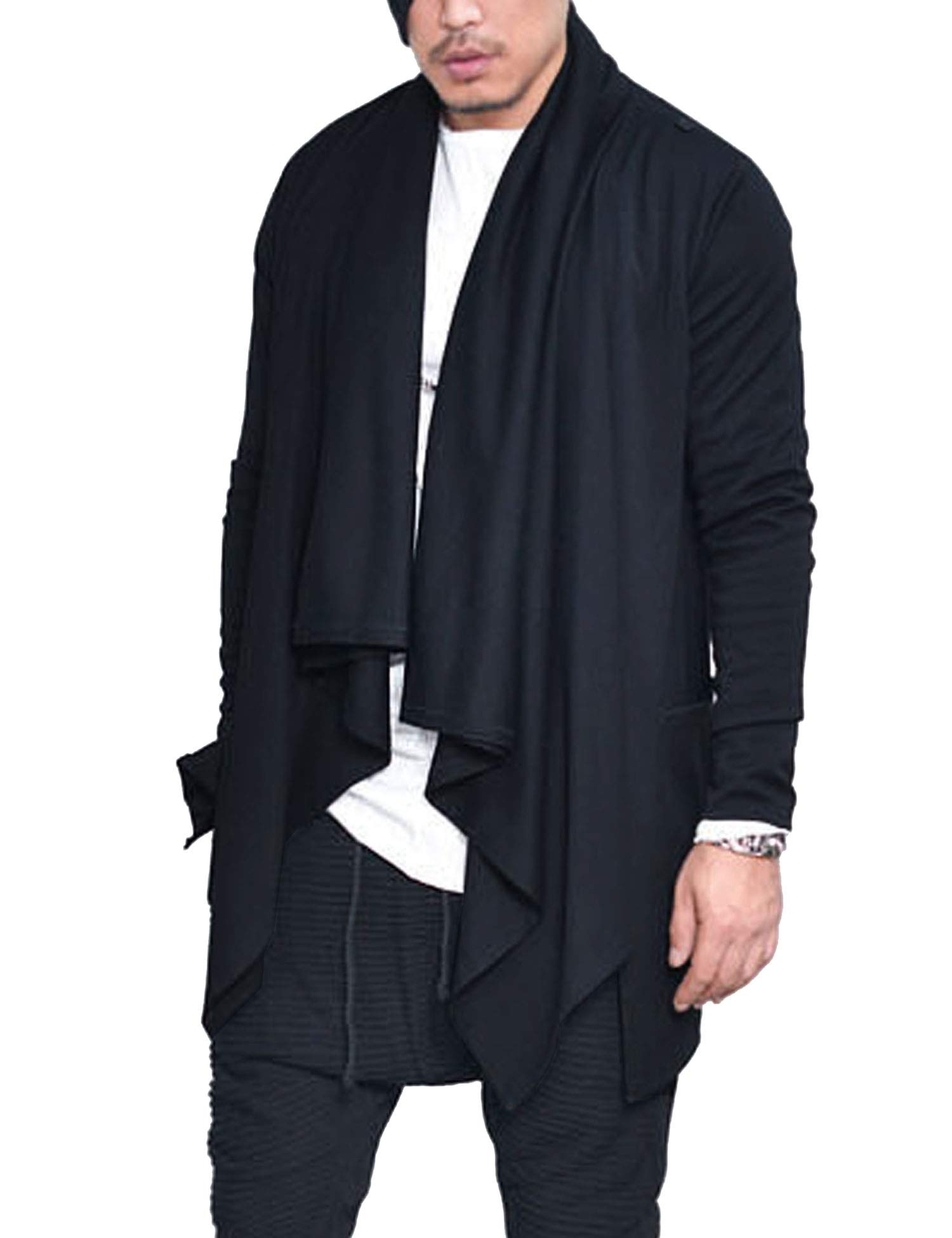 56049bbfca COOFANDY Mens Ruffle Shawl Collar Cardigan Sweaters Long Sleeve Open Front  Longline Drape Coat