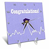 3dRose Beverly Turner Graduation Design - Heart Beat with Grad Cap on Graph Paper, Medical Theme, Purple - 6x6 Desk Clock (dc_262859_1)