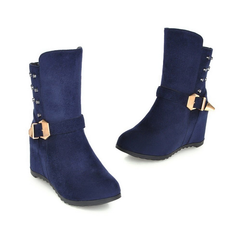 AmoonyFashion Women's Toe Round Closed Toe Women's High-Heels Frosted Low-top Solid Boots B01N3KO84M Boots b9ac54
