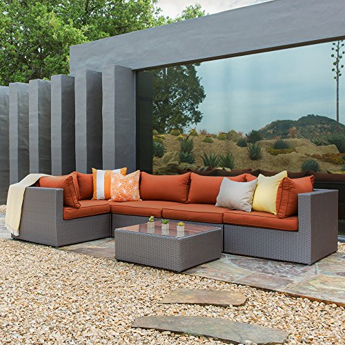 Becket 6-Piece Outdoor Wicker Sectional Set / Patio Sectional Sofa / Conversation Set, Cushions, Aluminum Frame (6 Seater Rattan Garden Furniture Sets)