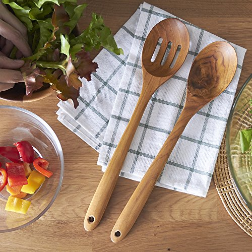 Wooden Spoon, Faay Premium Cooking Spoon, Mixing Spoon Handcraft from Teak | Natural, Non Toxic and High Heat Resistance for Non Stick Cookware
