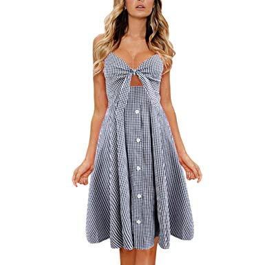 9cad33acffb TANGSen Womens Holiday Bowknot Lace Up Dress Ladies V-Neck Plaid Summer  Beach Casual Buttons