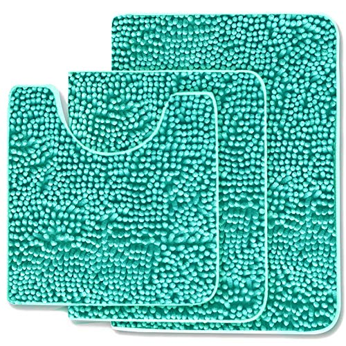 (MAYSHAG Chenille Bathroom Rug Set 3 Piece Bathroom Contour Rugs Combo, Soft Shaggy 2 Piece Bath Shower Mat and U-Shaped Toilet Floor Rug Turquoise)