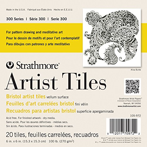 Strathmore STR-105-972 20 Sheet Artist Tiles Bristol Vellum Pad, 6 by (Sketch Vellum Pad)