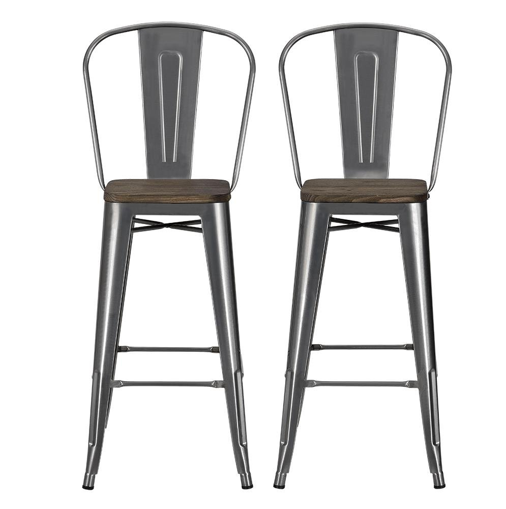 Amazon com dhp luxor metal counter stool with wood seat and backrest set of two 30 antique gun metal kitchen dining