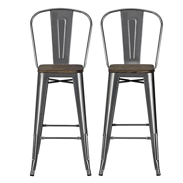 "DHP Luxor Metal Counter Stool with Wood Seat and Backrest, Set of Two, 30"", Antique Gun Metal"