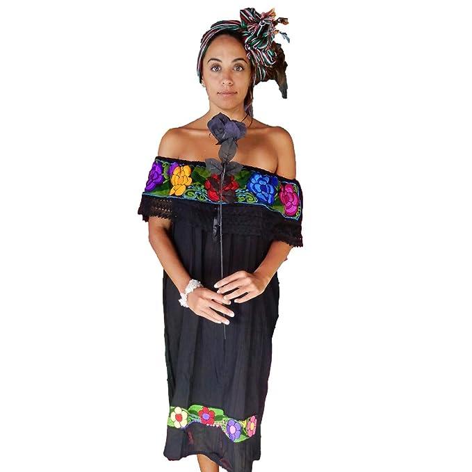 Amazoncom Vestido Mexicano Para Mujer Color Negro Talla