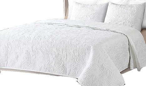 Colcha Boutí Liso Reversible+Cuadrantes BEGUR (Blanco, 180x260+1 cuadrante (para cama de 90))