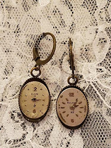 Steampunk Vintage Watchface Antique Goldtone Dangle Earrings ()