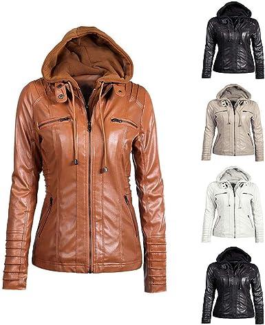 manteau faux cuir capuche femme