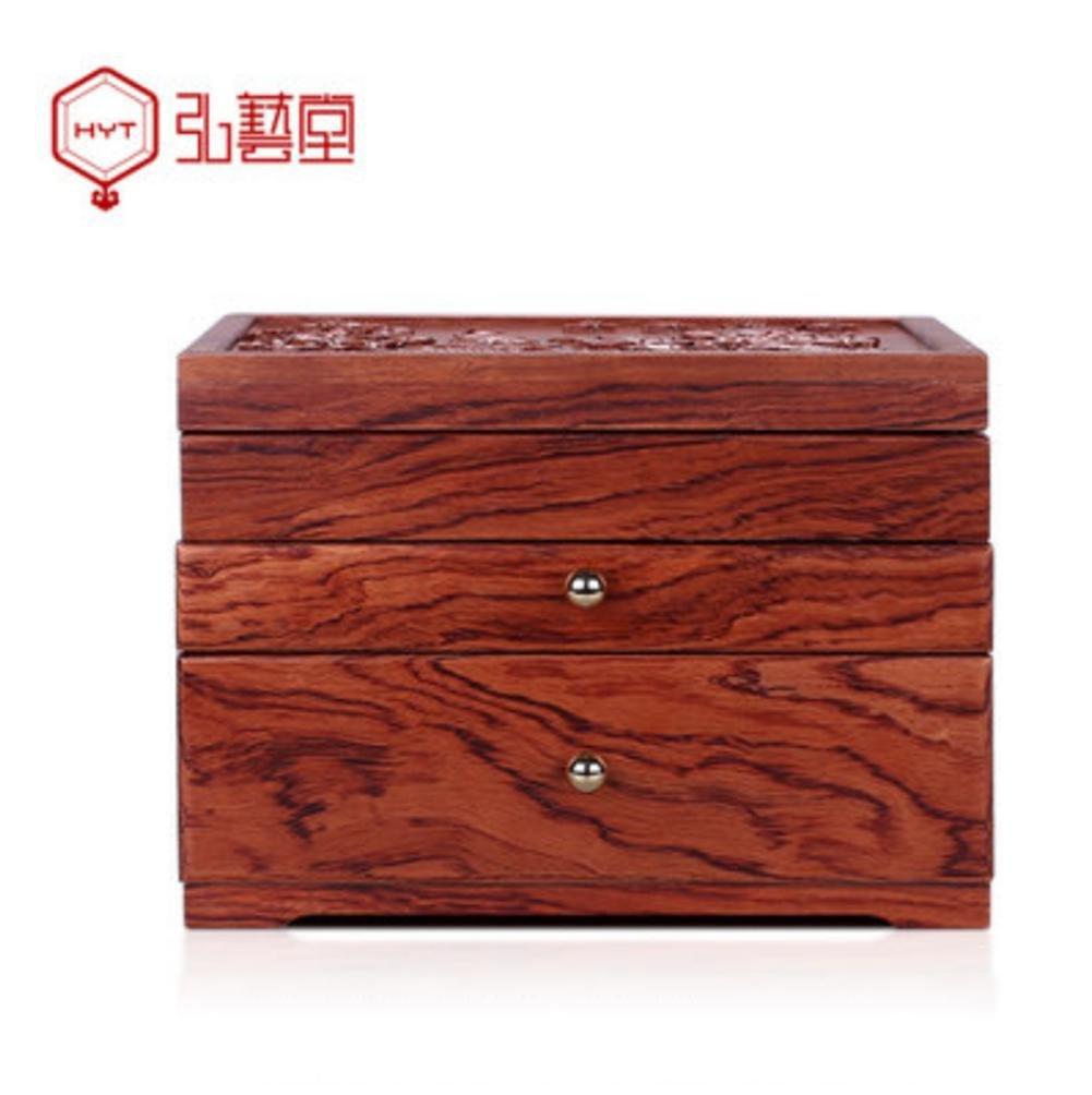 LUCKYYAN Retro fine Emboss Solid Wood Jewelry Box Necklace Storage Box Multifunctional Storage Box for Wedding Birthday Gifts , 1#
