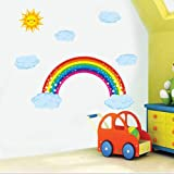 Rainbow Wall Decal Sparkling Rainbow Decal with Clouds and Sun,Colorful Sticker for Kids Room, Vinyl Wall Art Home Wall Decorations, Multicolor