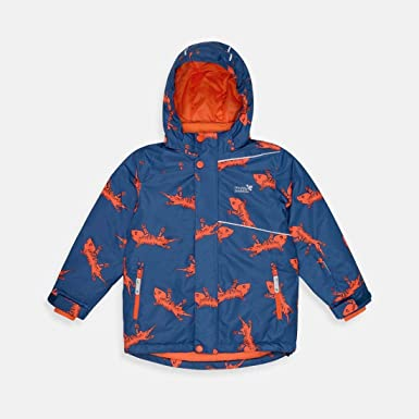 Muddy Puddles Blizzard Ski Jacket Kids Ski Jacket Navy Lizard Waterproof Removable Hood Windproof Breathable Kids Girls Boys Unisex