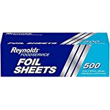 Reynolds Wrappers Pre-Cut Aluminum Foil Sheets, 12x10.75 Inches, 500 Sheets