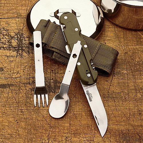 Camping Utensil Set 440 Stainless weighs 5 ounces - folds down and fits in a belt pouch - made in Italy
