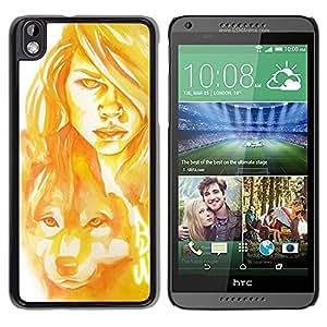 """For HTC DESIRE 816 Case , Mujer Perro Lobo Pintura del arte del retrato"""" - Diseño Patrón Teléfono Caso Cubierta Case Bumper Duro Protección Case Cover Funda"""