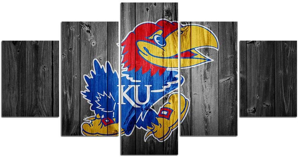 Kansas Jayhawks Football Wall Decor Art Paintings 5 Piece Canvas Picture Artwork Living Room Prints Poster Decoration Wooden Framed Ready to Hang(60''Wx32''H)