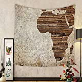 Gzhihine Custom tapestry African Decor Tapestry Geography Theme Grunge Vintage Wooden Plank Africa Map Digital Print for Bedroom Living Room Dorm Tan Umber and Brown