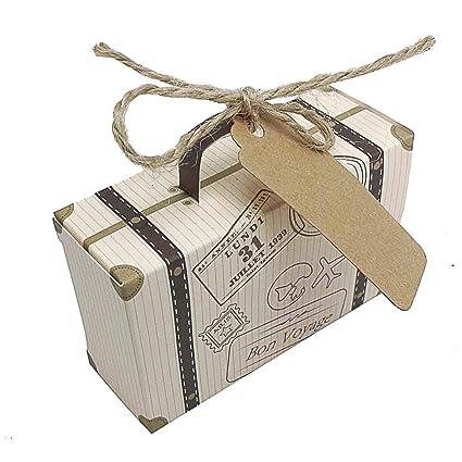 100 unids maletas kraft con tarjetas y cierre yute para invitaciones, recuerdos, scrapbooking, decoracion bodas, bautizos, ...