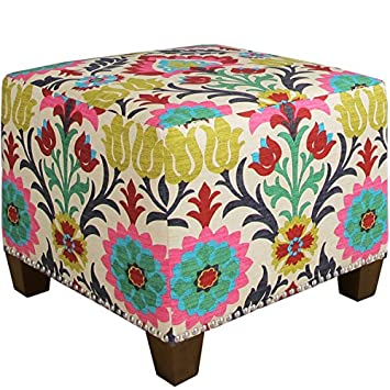 Cool Skyline Furniture Santa Maria Desert Flower Nail Button Ottoman Gmtry Best Dining Table And Chair Ideas Images Gmtryco