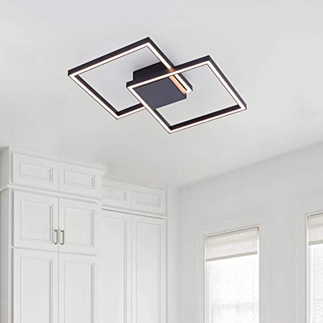 Amazon Com Helych Modern Ceiling Light Led 2 Squares Ceiling Lights Flush Mount Ceiling Lamp 27w Warm White 3000k Ceiling Lighting For Kitchen Bedroom Hallway Entry Dining Room Black Home Improvement