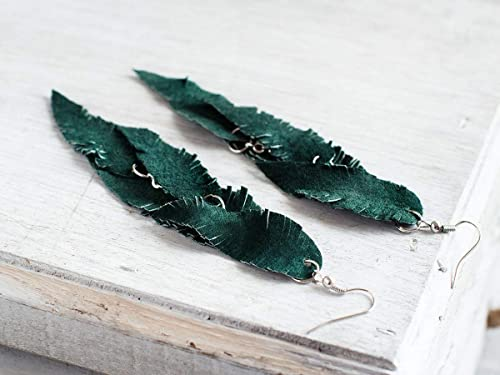 The Cardinal Feather Collection Green Feather Leather Earrings Dangle Earrings