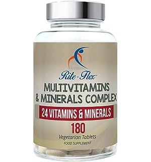 Complejo de multivitaminas y minerales, 180 tabletas vegetarianas Suministro de 6 meses, 24 suplementos