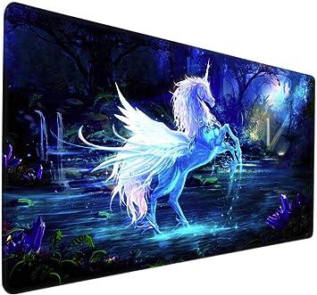 alfombrillas gaming Unicornio blanco brillante fantasía bosque cielo estrellado Alfombrilla grande XXL juego electrónico de dibujos animados anime girl game mouse pad alfombrilla de mesa creativa: Amazon.es: Electrónica