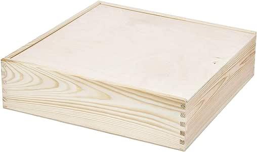 Recipiente Tapa Deslizante Box De Madera Caja 8,7 litros Foto álbum Caja 35.5 cm Madera Caja Caja de Recogida: Amazon.es: Hogar