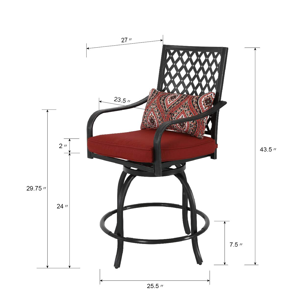 Patio Time 360 Degree Rotation Swivel Bar Stools Outdoor Furniture with Pillow, Seat Cushion (Set of 2)