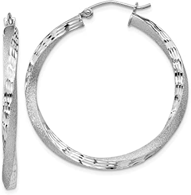 925 Sterling Silver Rhodium-plated Polished Twisted Hoops