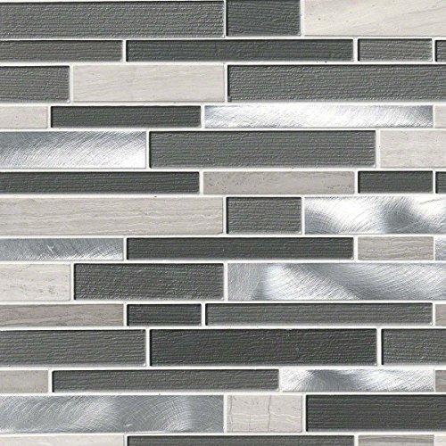 Urban Loft Interlocking Pattern 4mm Glass stone Metal Mosaic (Urban Metals)