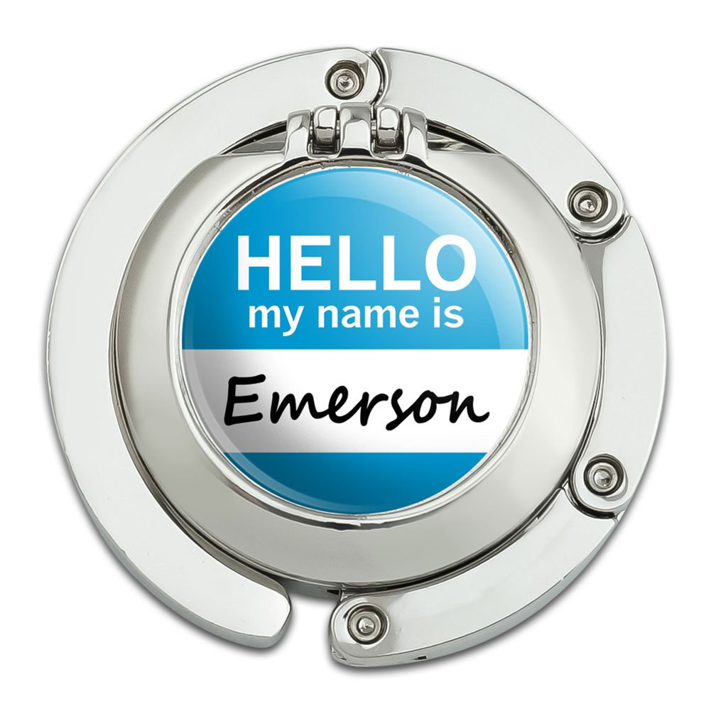Emerson Hello My Name Is Foldable Table Bag Purse Caddy Handbag Hanger Holder Hook with Folding Compact Mirror