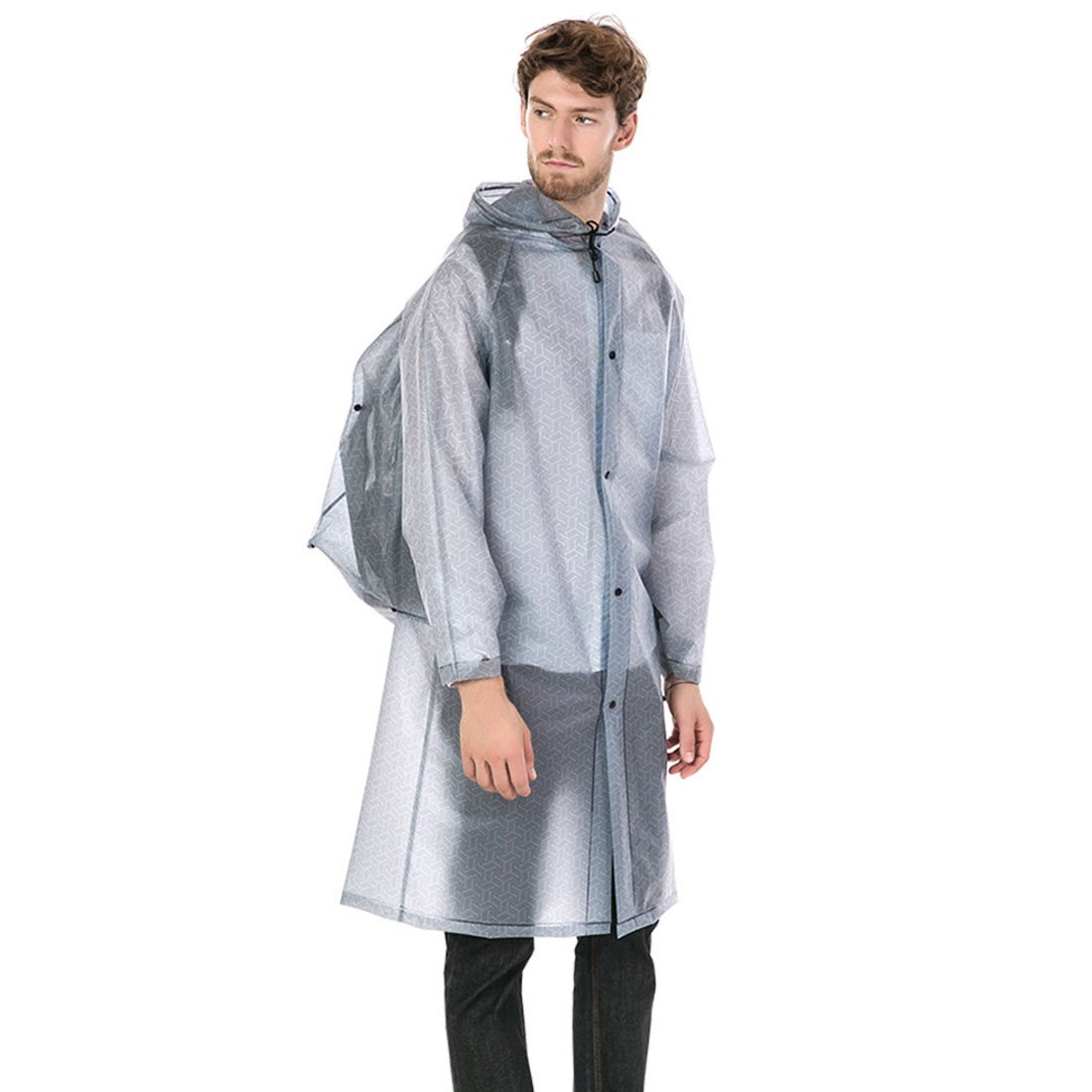 FREAHAP R Raincoat Poncho with Backpack Cover Stylish Poncho for Men Women Adults Grey L