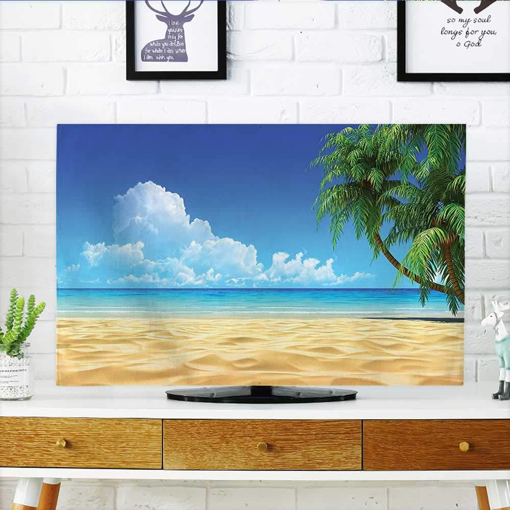 Jiahonghome テレビのパームツリーを保護 金色の熱帯の砂浜の葉 装飾 海の風景 グラフィックプリント テレビを保護 幅19 x 高さ30 インチ/テレビ32インチ W35 x H55 INCH/TV 60