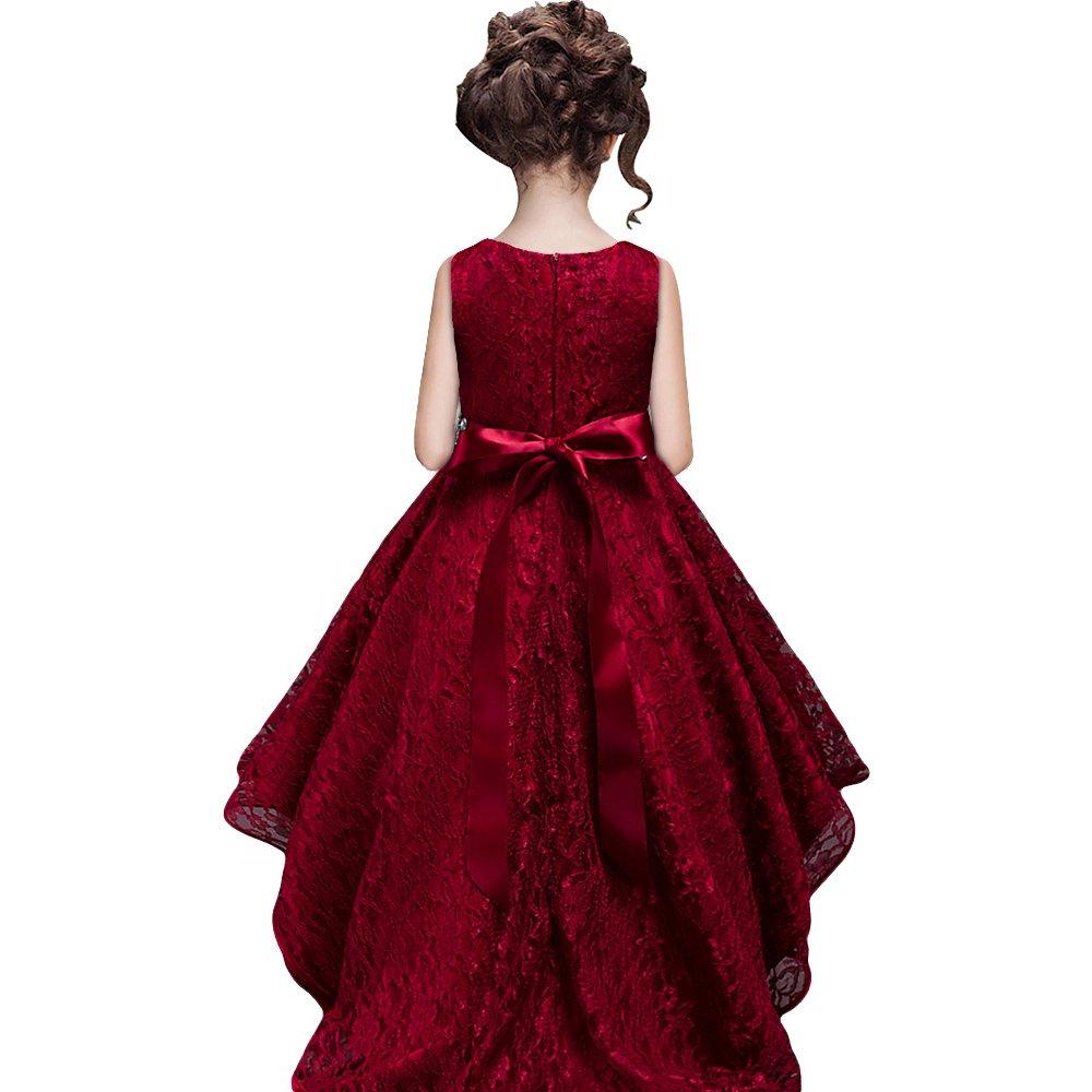 5-6 Ans /étiquette 130 HUANQIUE Robe de Mariage Fille Princesse Demoiselle d/'Honneur Robe /à Queue daronde 5 Couleurs Rouge Vineux