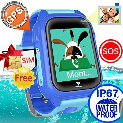 iCooLive Waterproof IP67 Kids Smart Watch Accurate GPS Tracker with FREE SIM CARD for Kid Boys Girls Smartwatch Phone watch Game watch with SOS Call Camera Electronic Learning Toys Birthday Gift