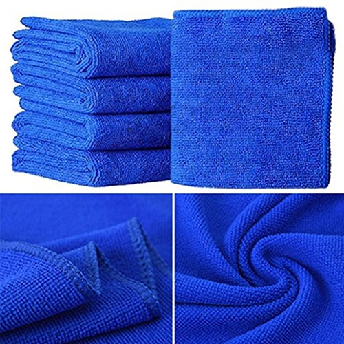 Rucan 5Pcs Blue Soft Absorbent Wash Cloth Car Auto Care Microfiber Cleaning Towels by Rucan (Image #2)