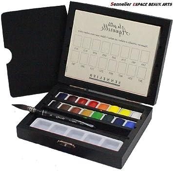 Sennelier Caja de Pintura de Acuarela 16 Media Tazas Caja de Madera Negra: Amazon.es: Juguetes y juegos