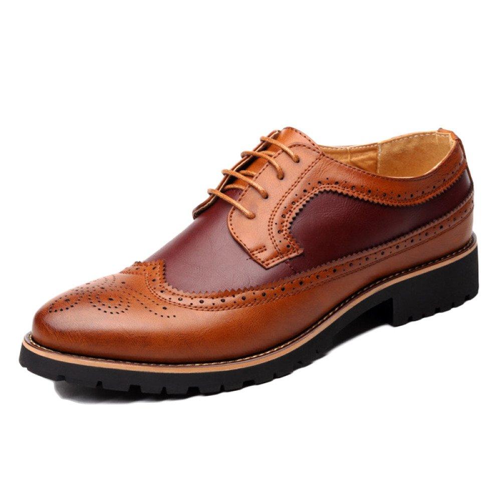 LQV Bullock Zapatos para Hombres Zapatos De Vestir De Negocios Casuales Coreano Zapatos De Boda Exquisito Desgaste De Deslizamiento Tallado Antideslizante Resistente Al Desgaste 40 EU|Red Brown